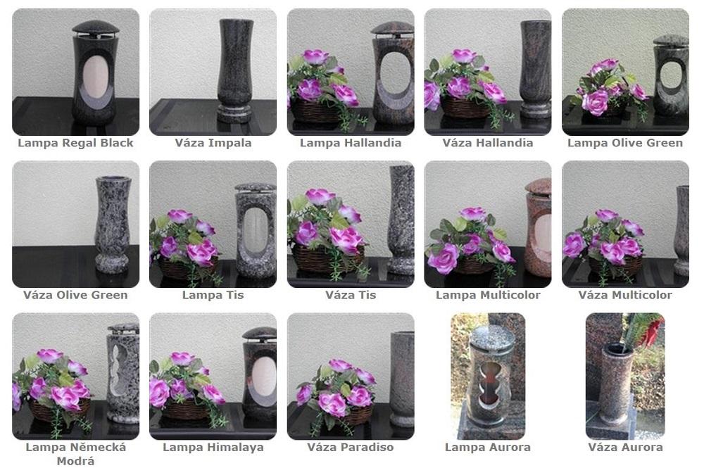 Hřbitovní kamenné vázy